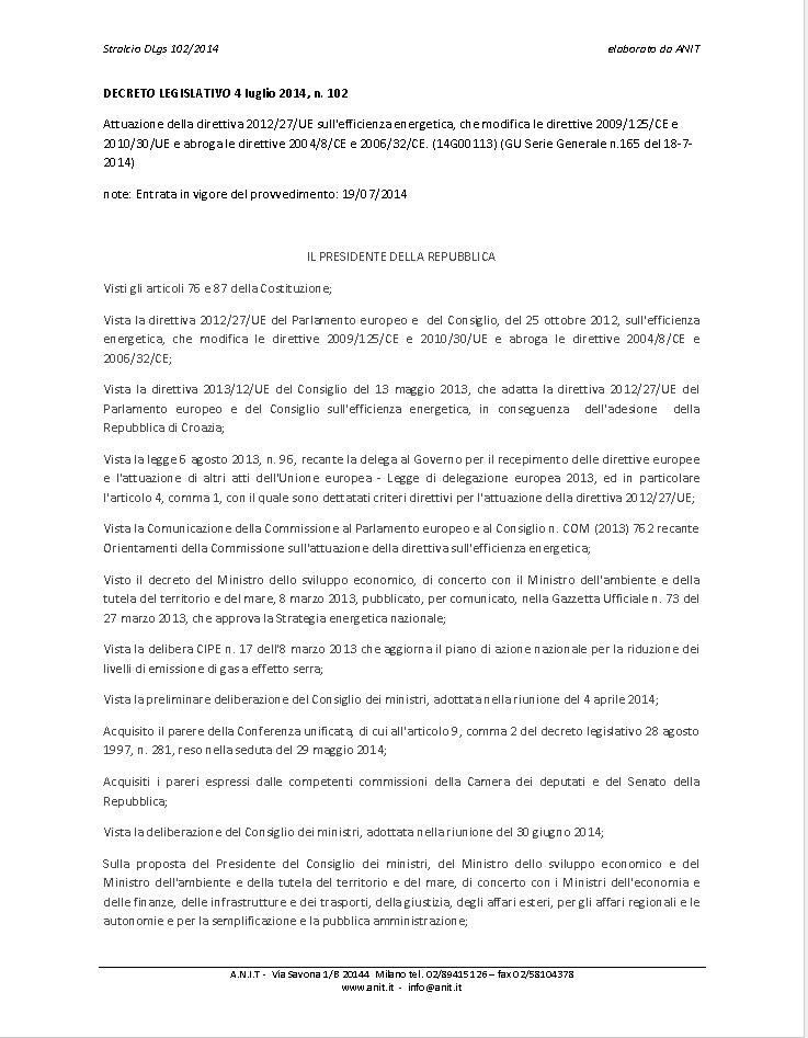 Decreto Legislativo N°120 del 4 Luglio 2014